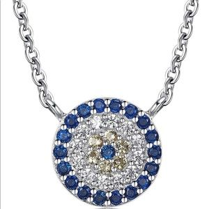 Jewelry - Rhodium Plated Sterling Silver Evil Eye Necklace